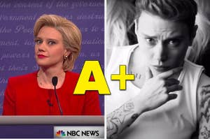An A+ over Kate McKinnon impersonating Hillary Clinton and Justin Bieber