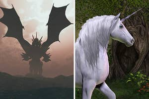 On the left, a dragon in the sky, and on the right, a unicorn in a forest