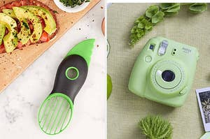 on the left an avocado slicing and depitting tool, on the right a lime green instax camera