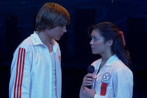 Troy and Gabriella about to sing on stage in front of their whole class