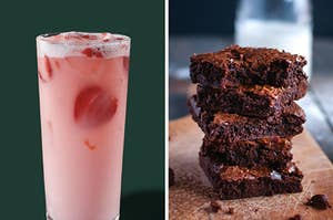 On the left, a Starbucks Pink Drink, and on the right, a stack of brownies