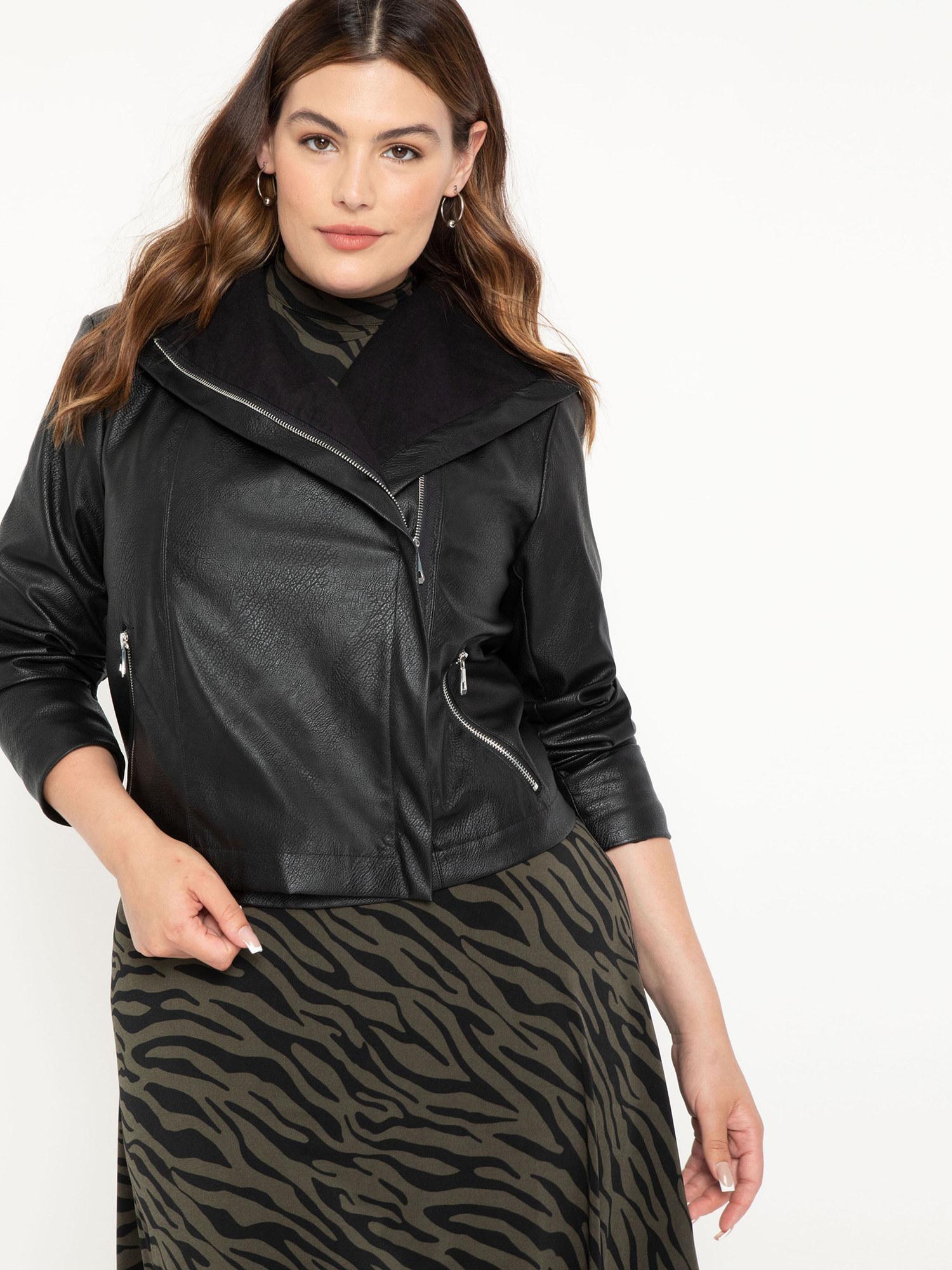model wearing black shawl coat