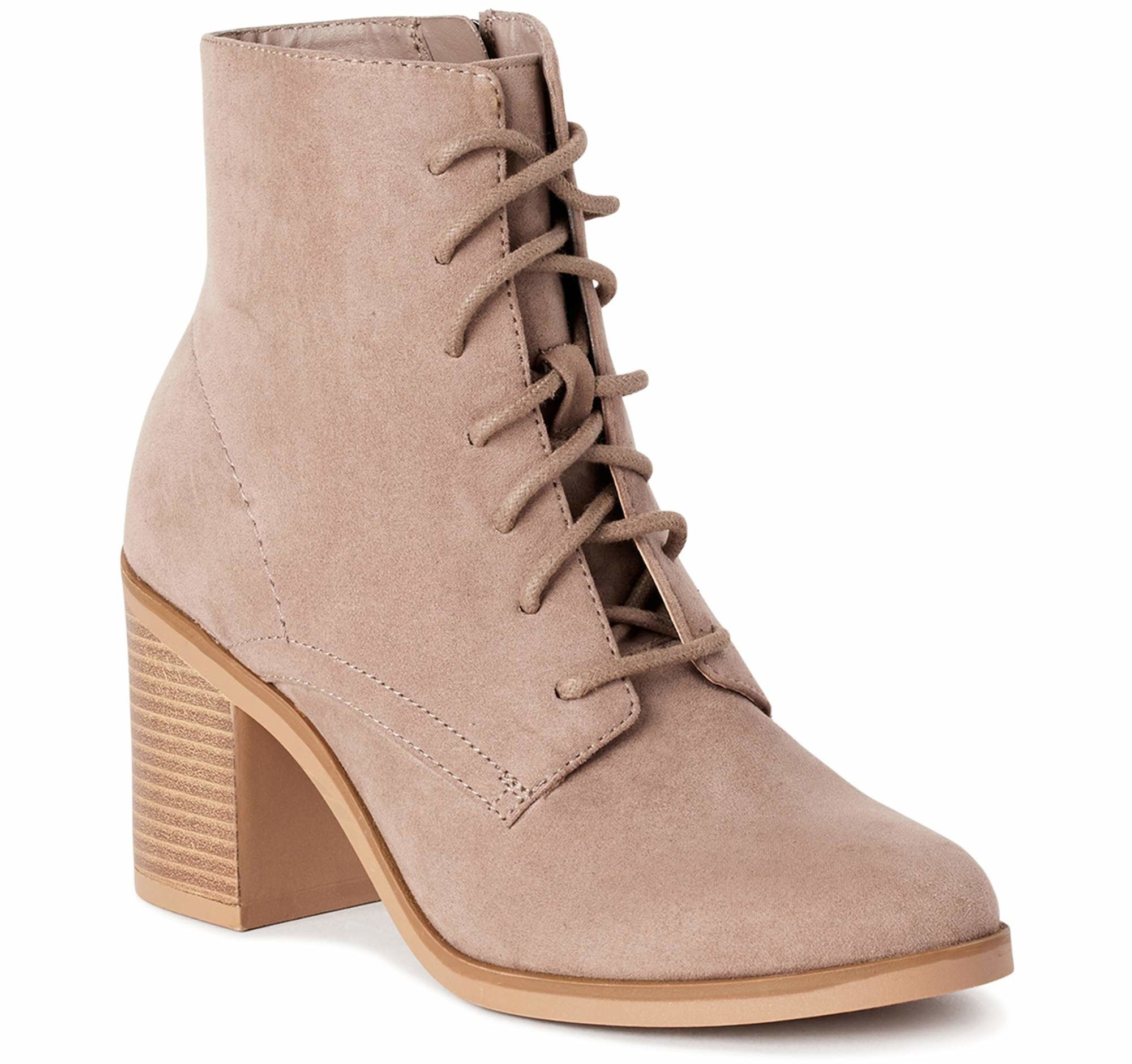 The lace up heel bootie in taupe