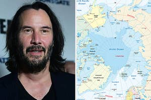 Side-by-side images of Keanu Reeves and the Arctic Circle