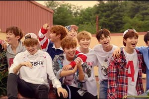 An image of Wanna One from their music video for Energetic