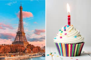 An image of the eiffel tower next to an image of a cupcake