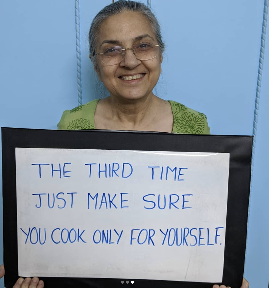 Sign saying the third time only cook for yourself.