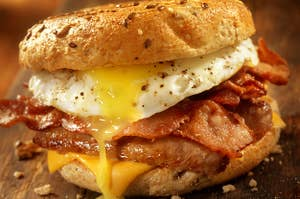 a bacgon, egg, and cheese breakfast sandwich
