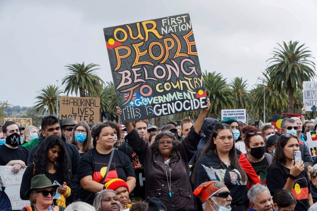 People protesting at a Black Lives Matter protest in Australia