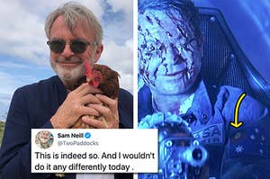 """Side by side of Sam Neill holding a chicken and his character from """"Event Horizon"""" with an Aboriginal flag on his uniform"""