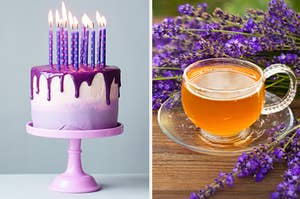 An image of a cake on a cake stand next to an image of a tea surrounded by lavender flowers