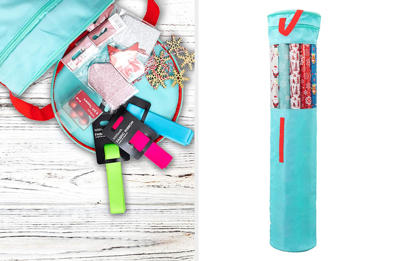 A split image of a teal wrapping paper organizer with red handles with the top open and a free-standing image filled with rolls of paper