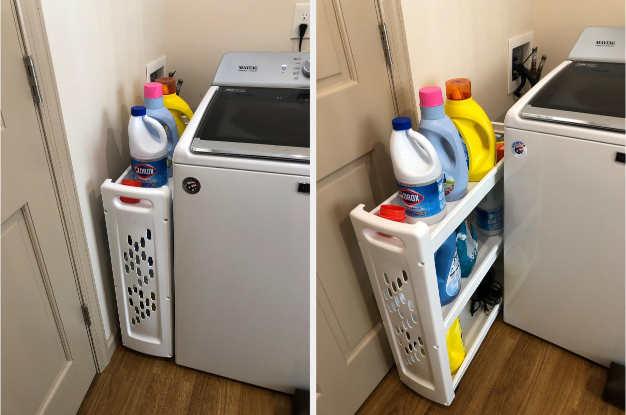 Side-by-side image of white laundry cart tucked next to and pull away from a washing machine