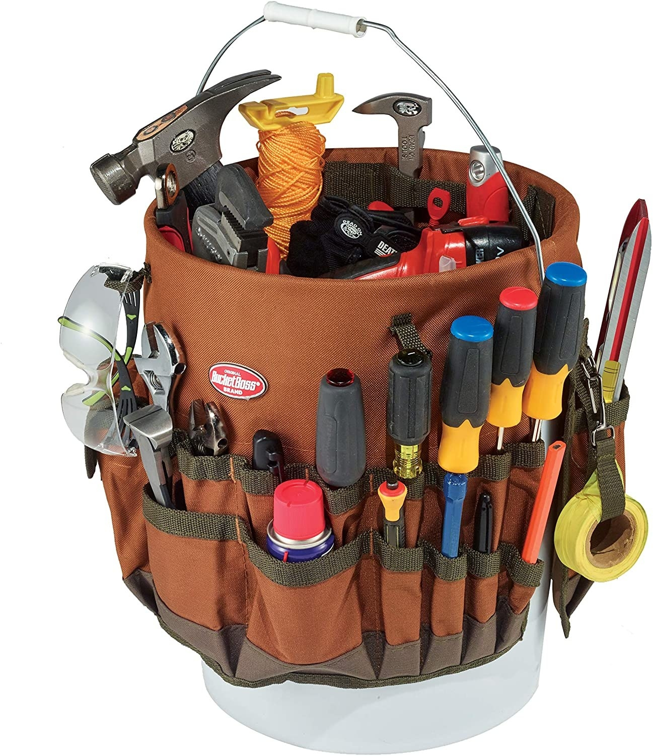 A brown bucket organizer made from denier poly ripstop fabric filled with tools