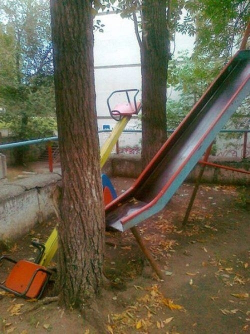 a slide in a playground somehow ends up in a tree trunk