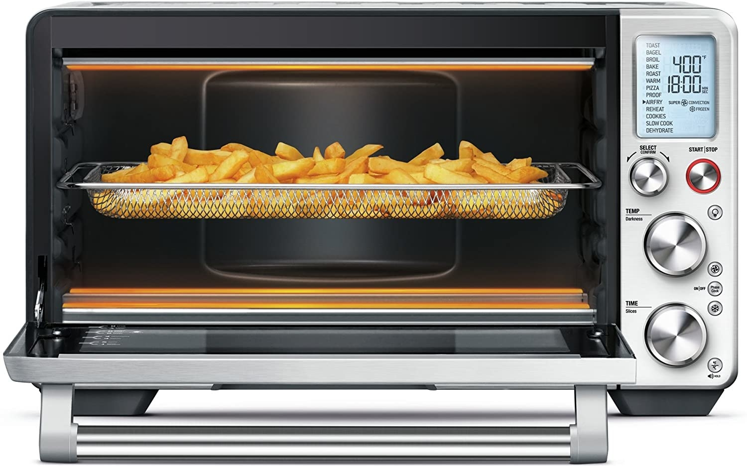 French fries air frying on a rack in the Breville smart oven.