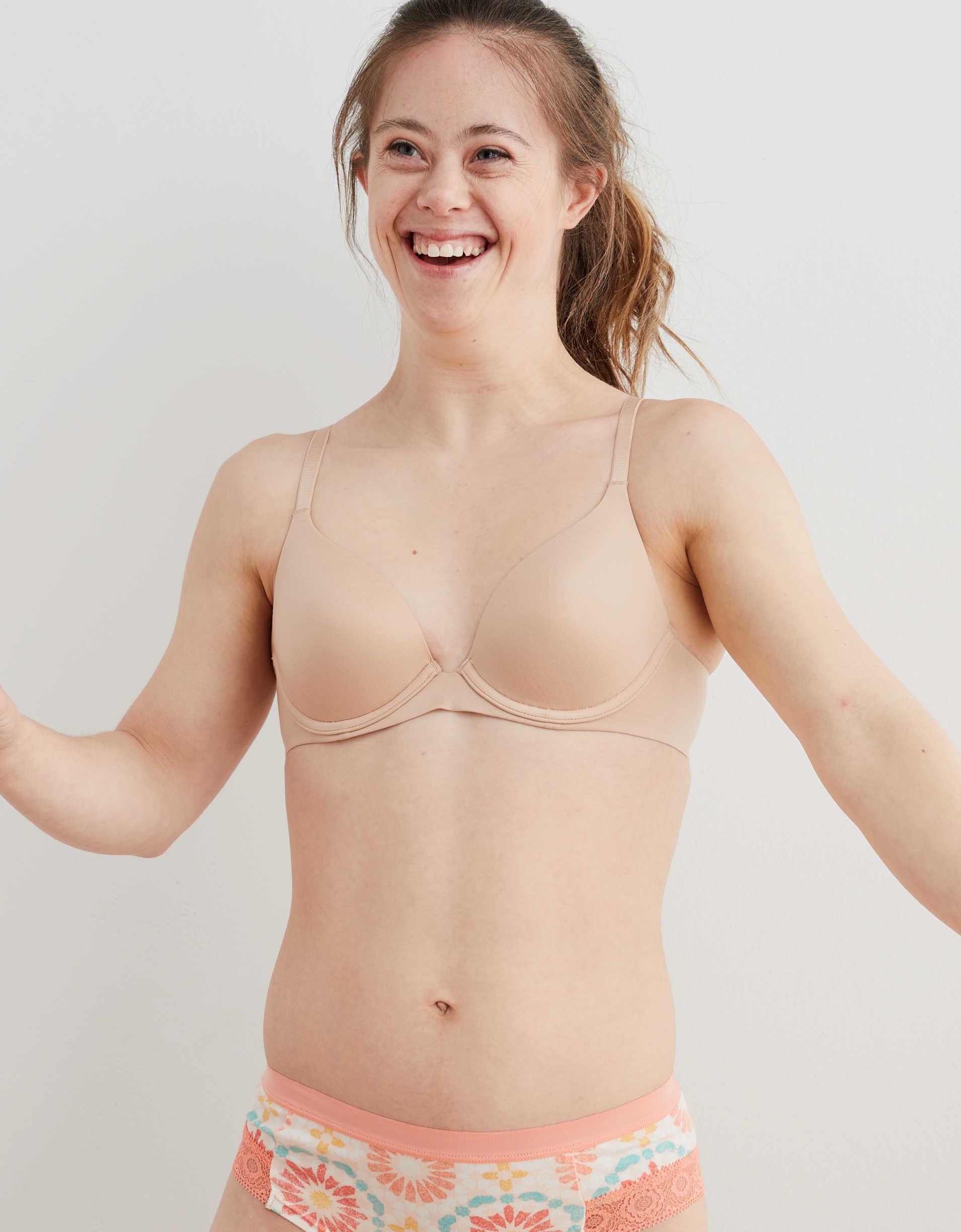 Model wearing the bra in nude
