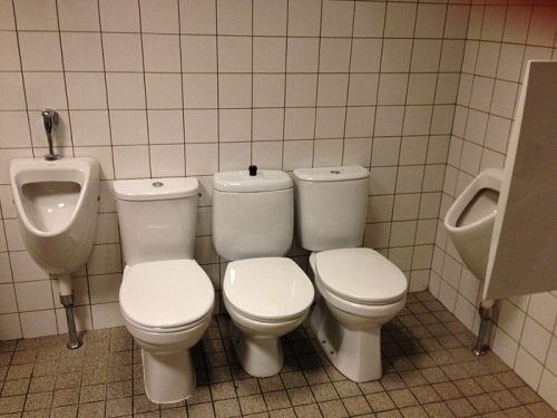 three western style toilets huddled together in one washroom