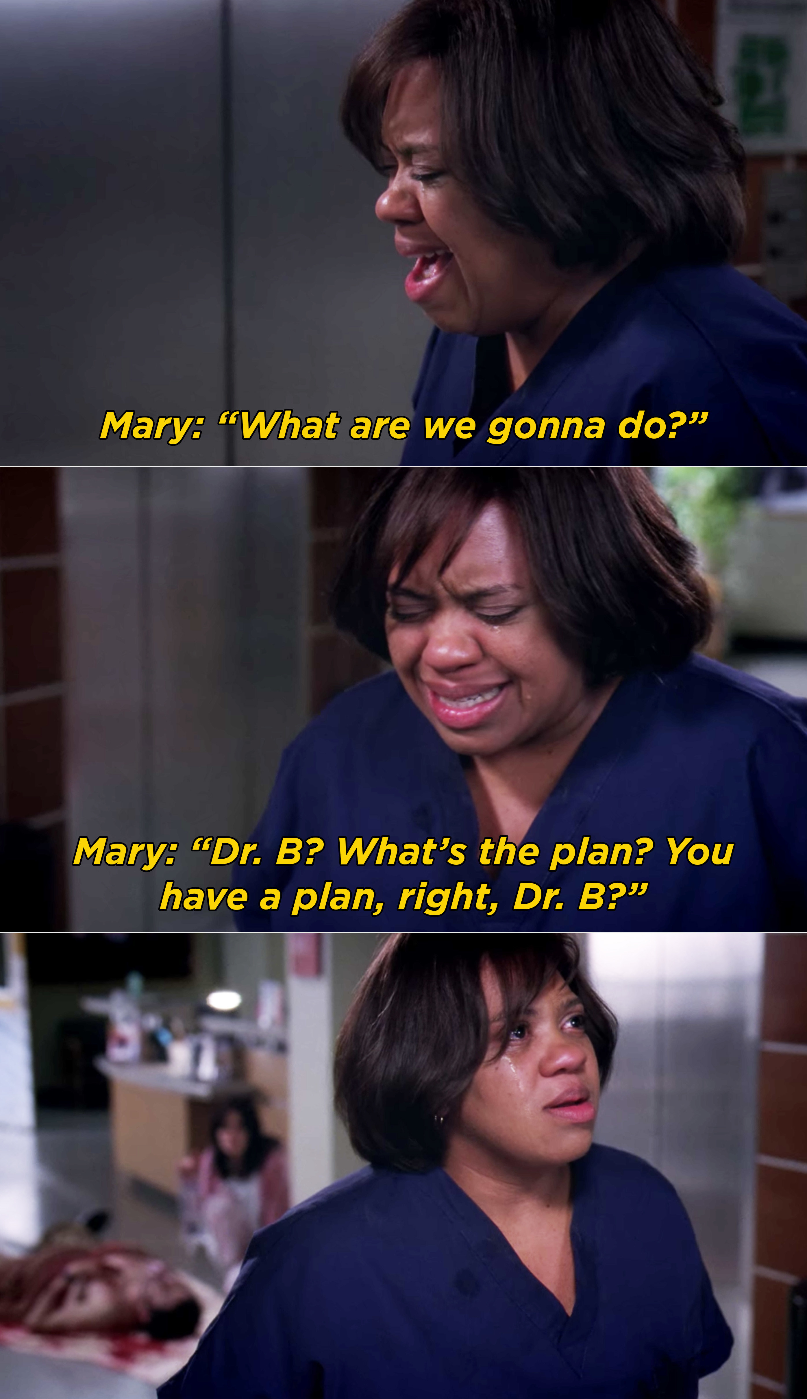 Bailey crying and Mary asking if she has a plan