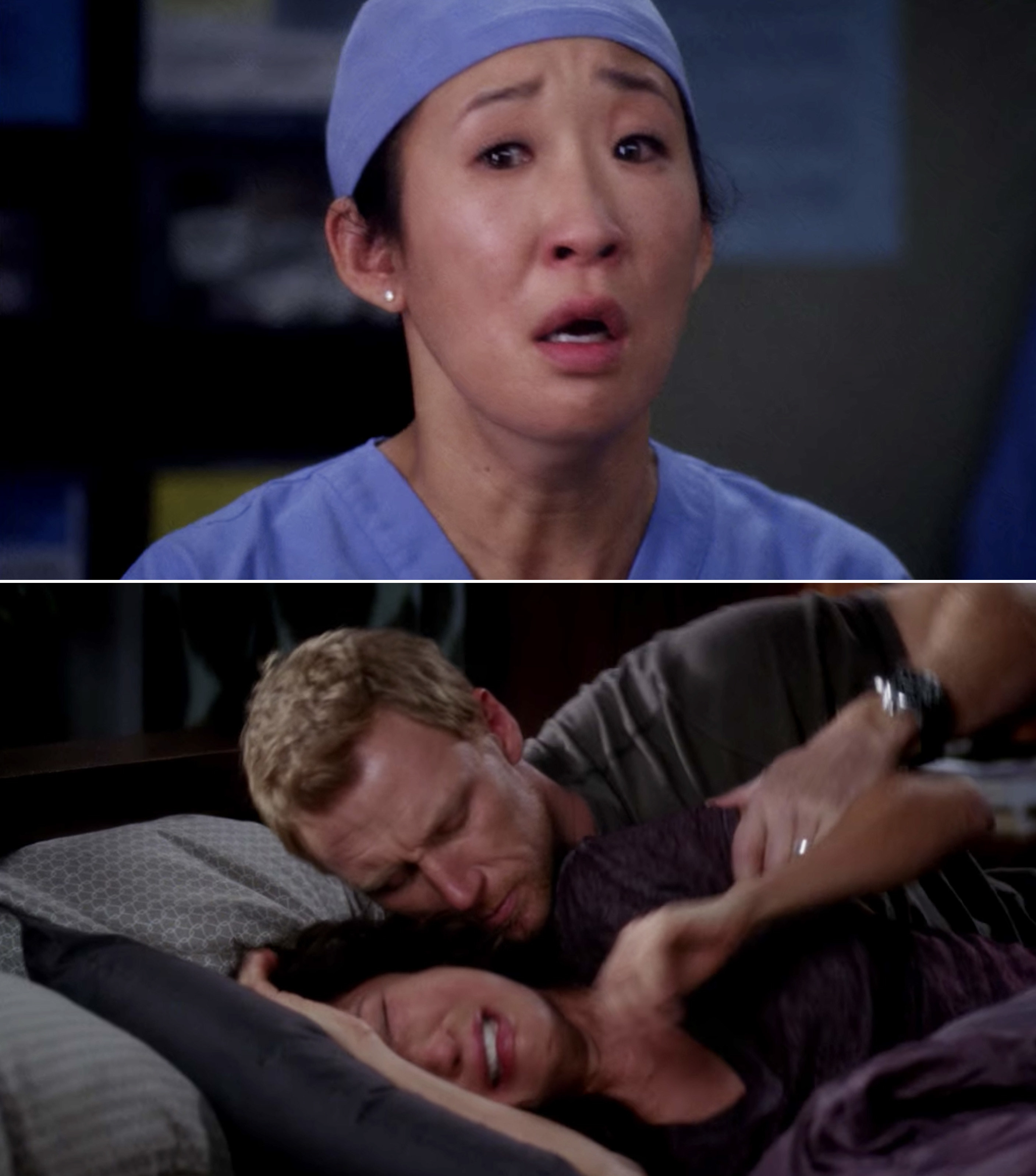 Cristina with tears in her eyes and then Cristina sobbing on the bed with Owen trying to hold her