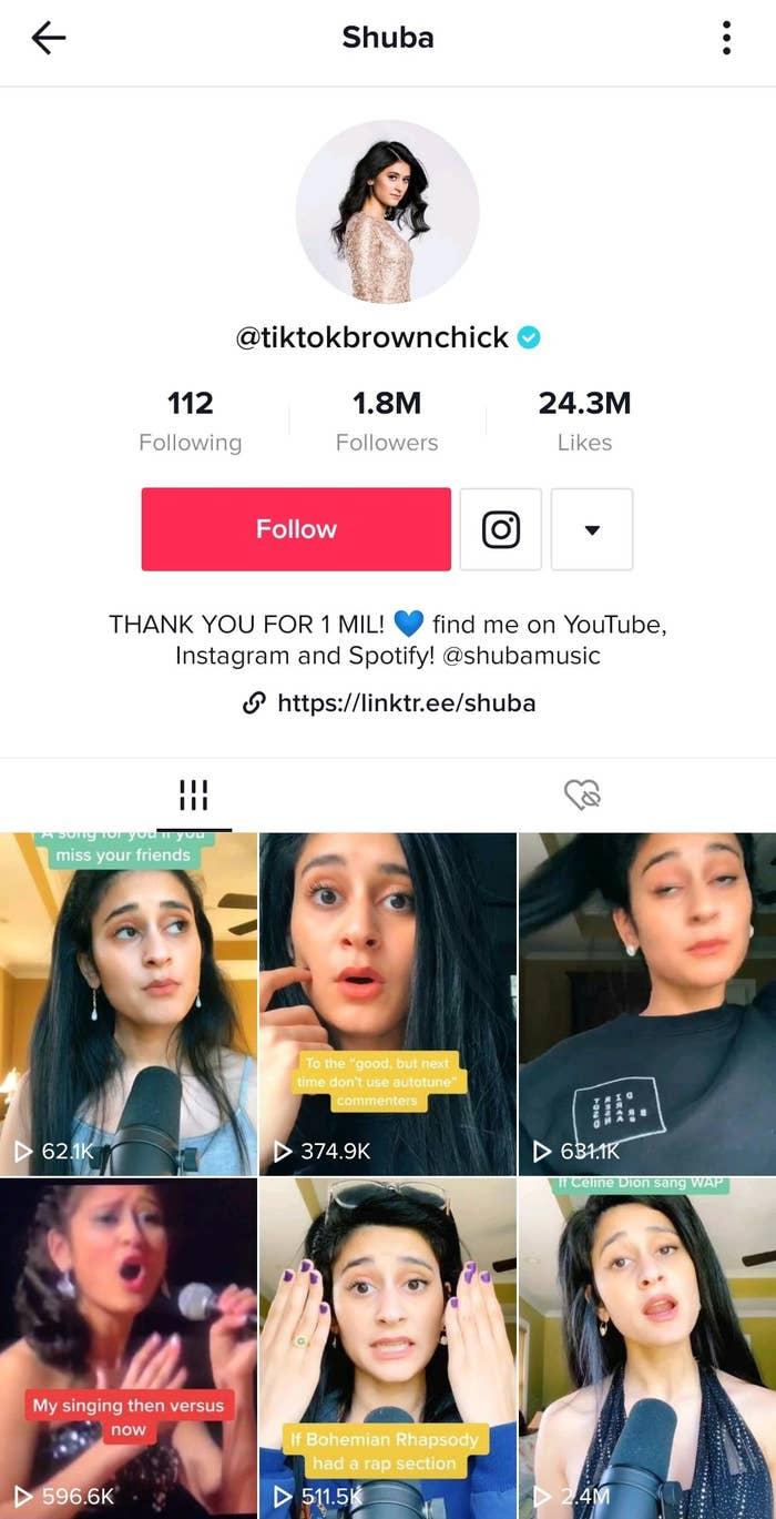 Shuba's TikTok page, where she has over 1.8 million followers