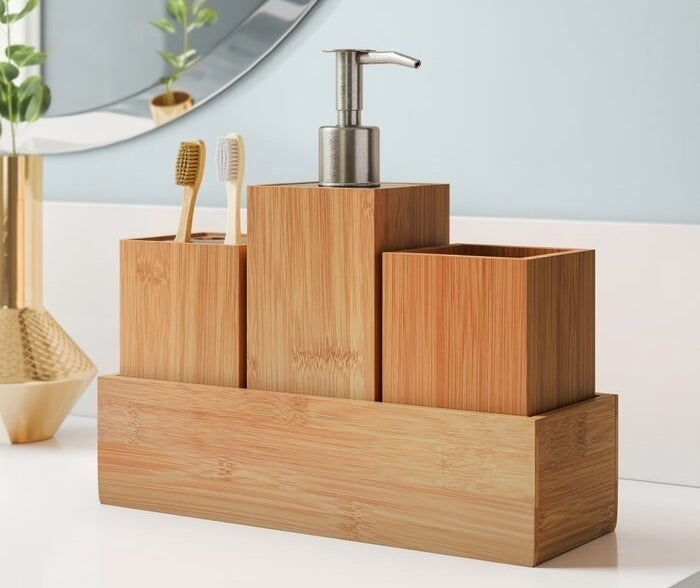 The wooden finish organizer featuring the soap dispenser and two toothbrushes being stored in the toothbrush holder area