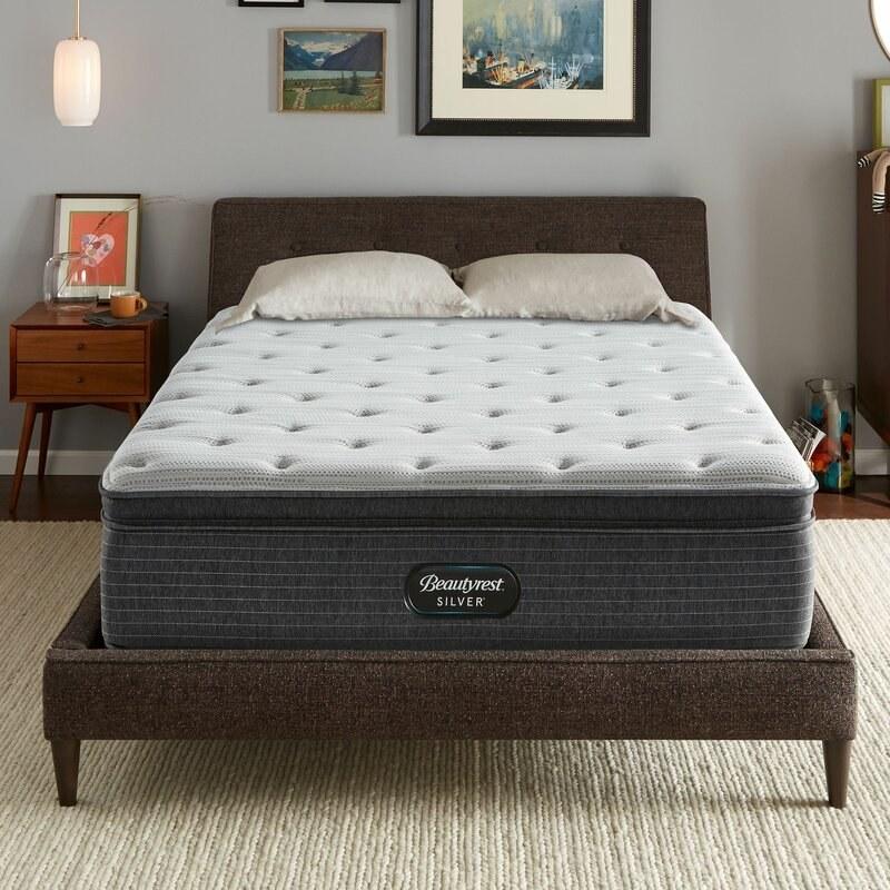 A dark gray mattress with a lighter gray pillow top
