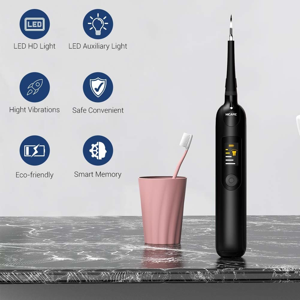 Remover beside graphics of product skills: eco-friendly, smart memory, safe, high vibrations, LED HD light, and LED auxiliary light