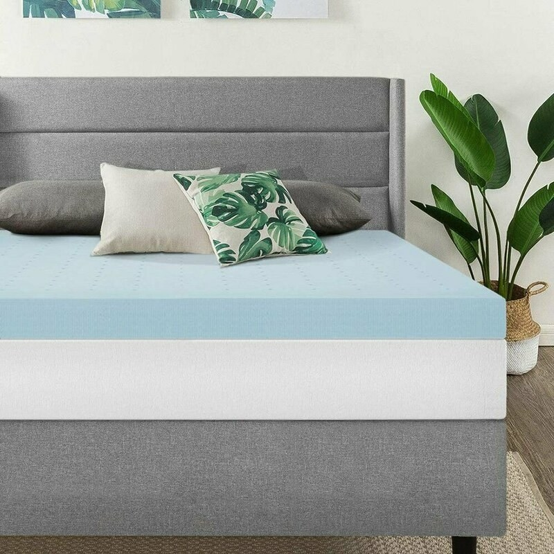 Two-sided gel memory foam mattress, the top side blue and the bottom white