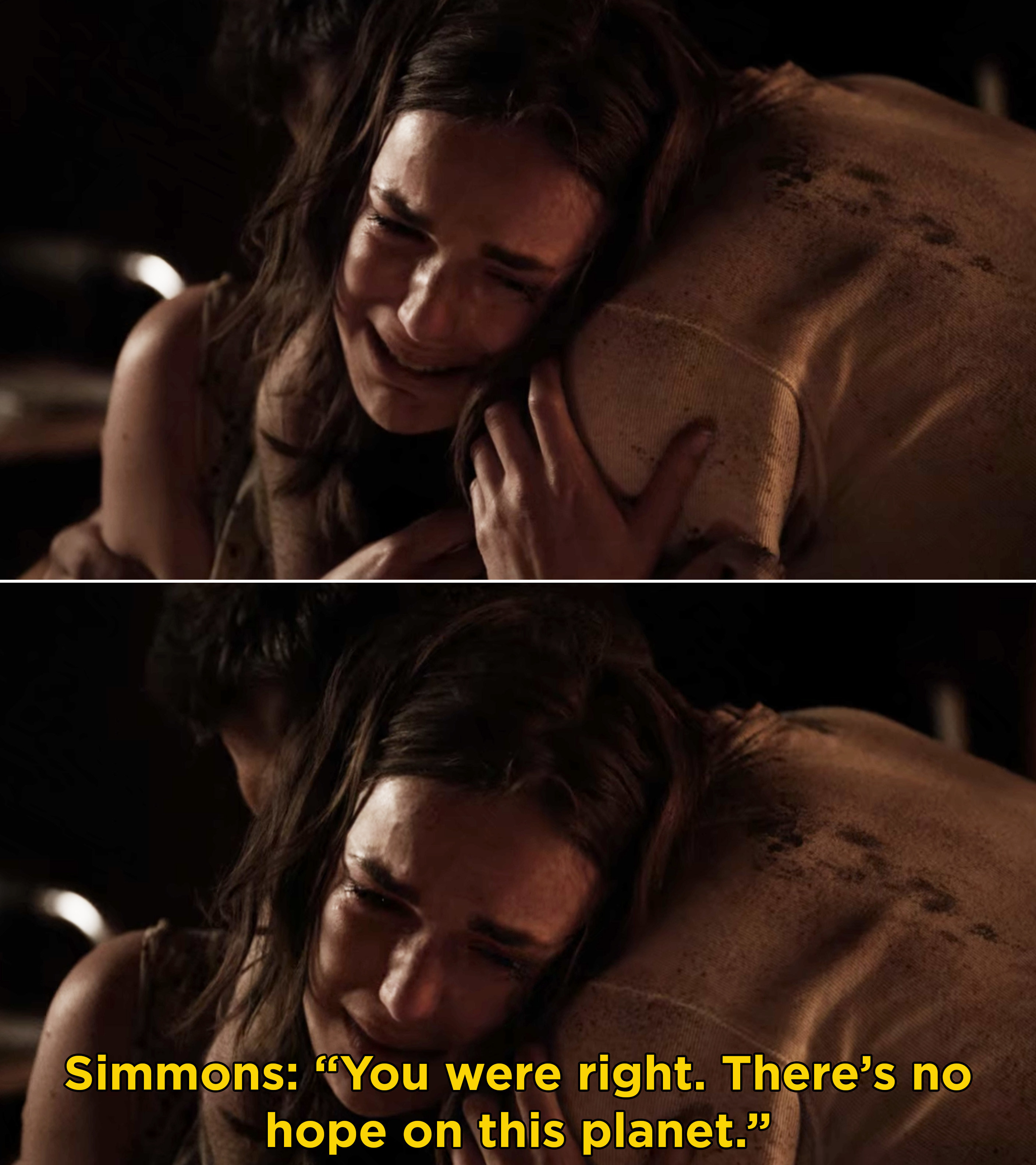 """Simmons sobbing and saying, """"You were right. There's no hope on this planet"""""""