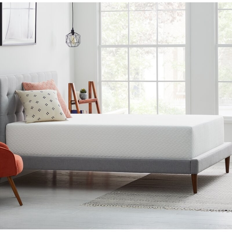 A white gel memory foam mattress with quilted pattern