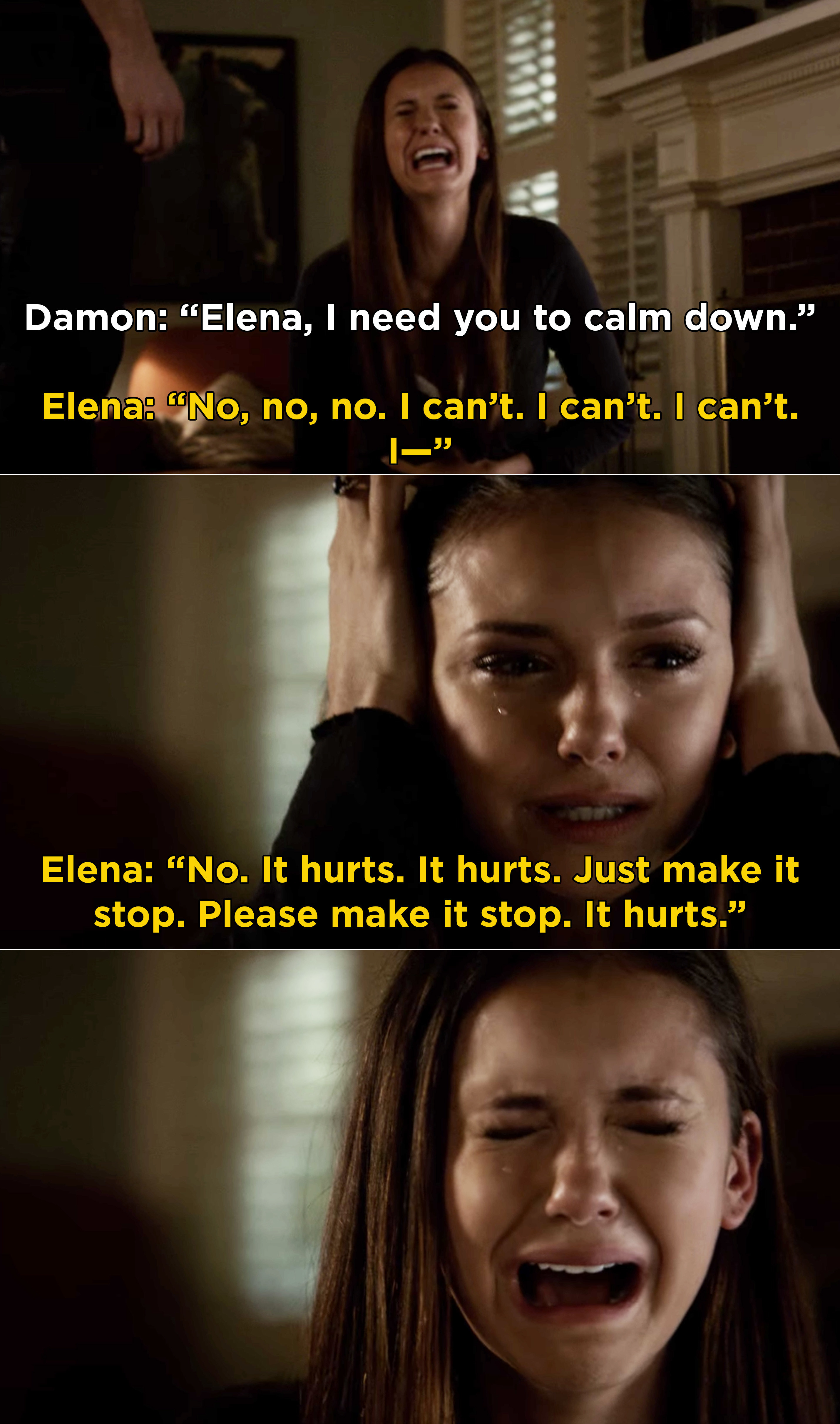 Elena sobbing uncontrollably and screaming that she can't do this anymore and it has to stop