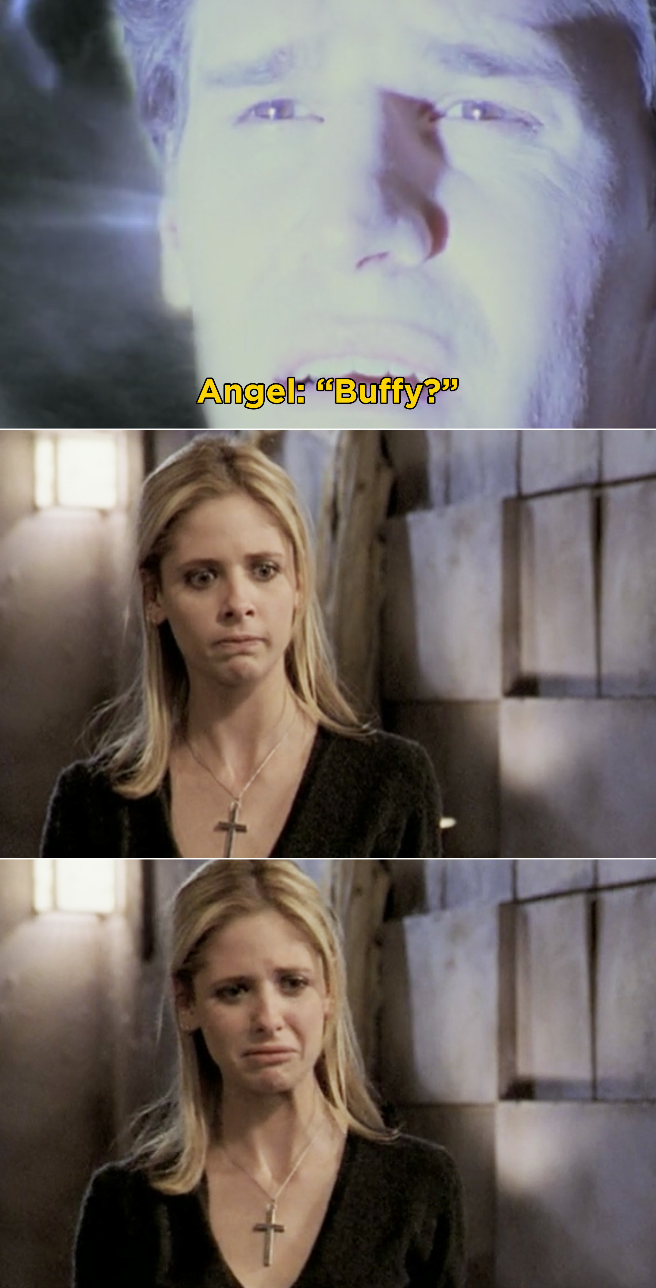 Buffy crying over Angel as he's sucked into a portal