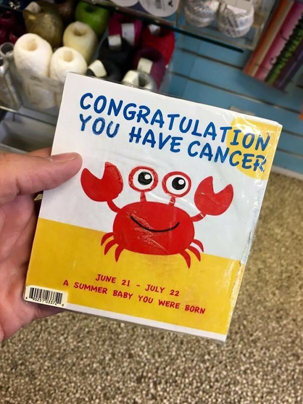 a greeting card that says congratulation you have cancer
