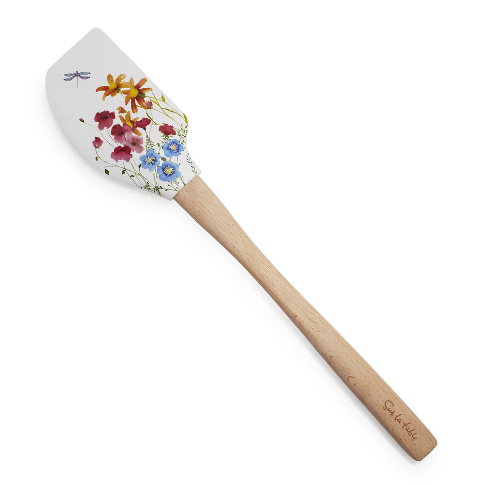 The rubber spatula with a dragonfly and floral design