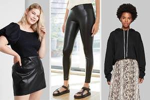 on the left, model wearing black mini skirt; in center, model wearing black faux leather leggings; on right, model wearing a black drawstring hoodie