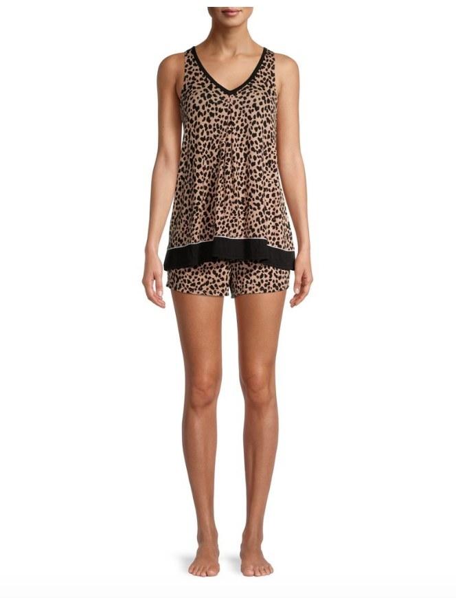 Model wearing cheetah print pajama tank and shorts