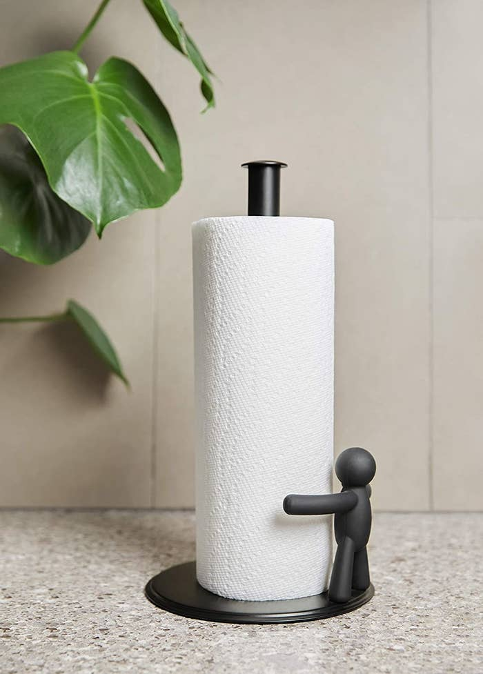 A close up of the holder on a kitchen countertop