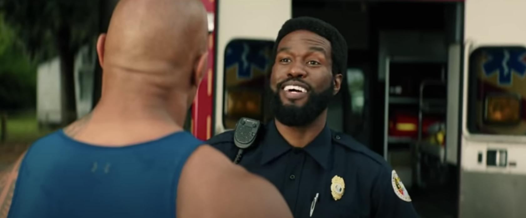 """Yahya smiles as Sgt. Garner Ellerbee in """"Baywatch"""""""
