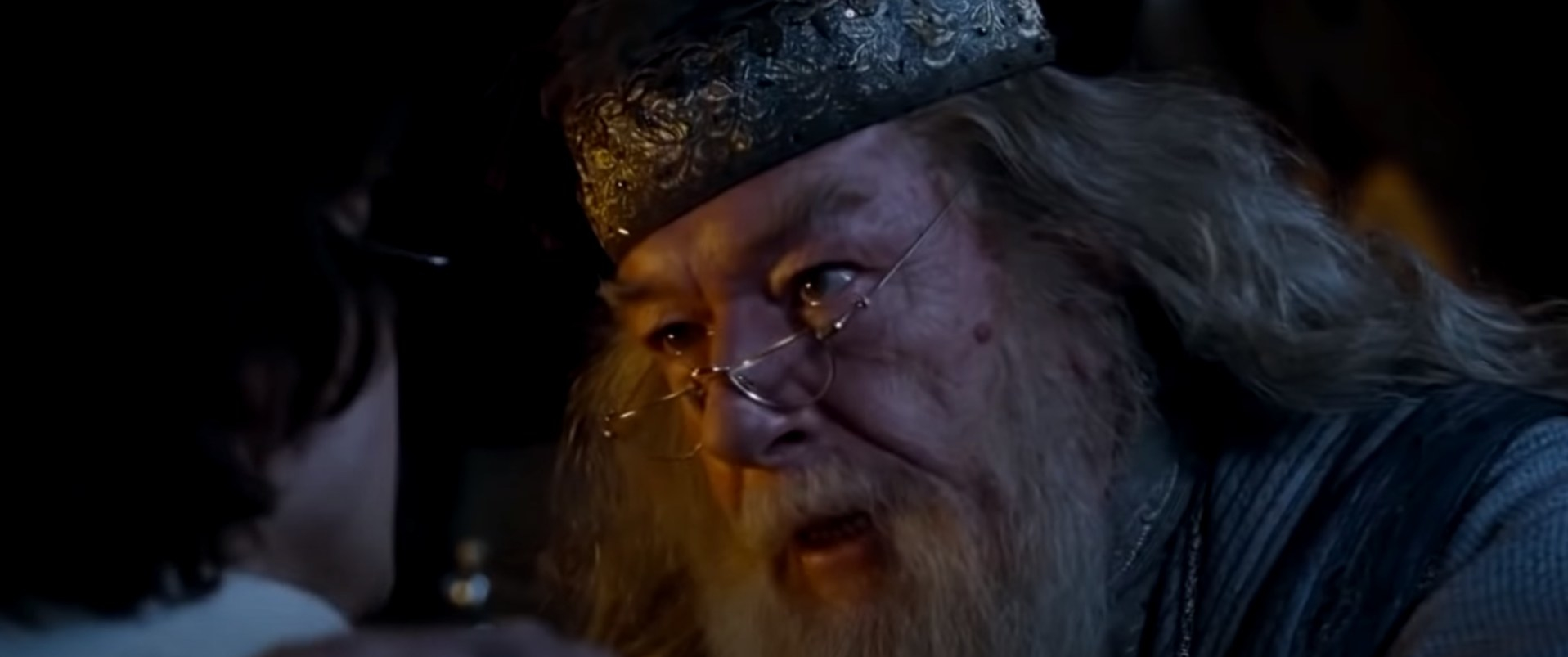 Dumbledore screaming in Harry's face