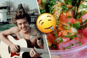 Harry Styles playing guitar shirtless next to a poké bowl