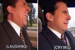 """Side by side photos of Michael Scott from """"The Office"""" laughing and then sobbing"""