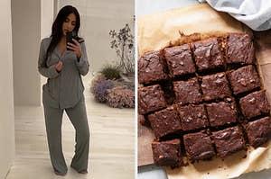 Kim Kardashian in pjs and brownies.