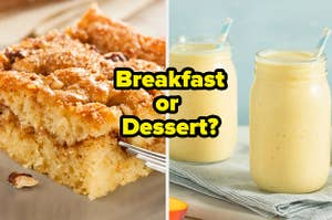 "Crumb cake and smoothies with the question: ""Breakfast or dessert?"""