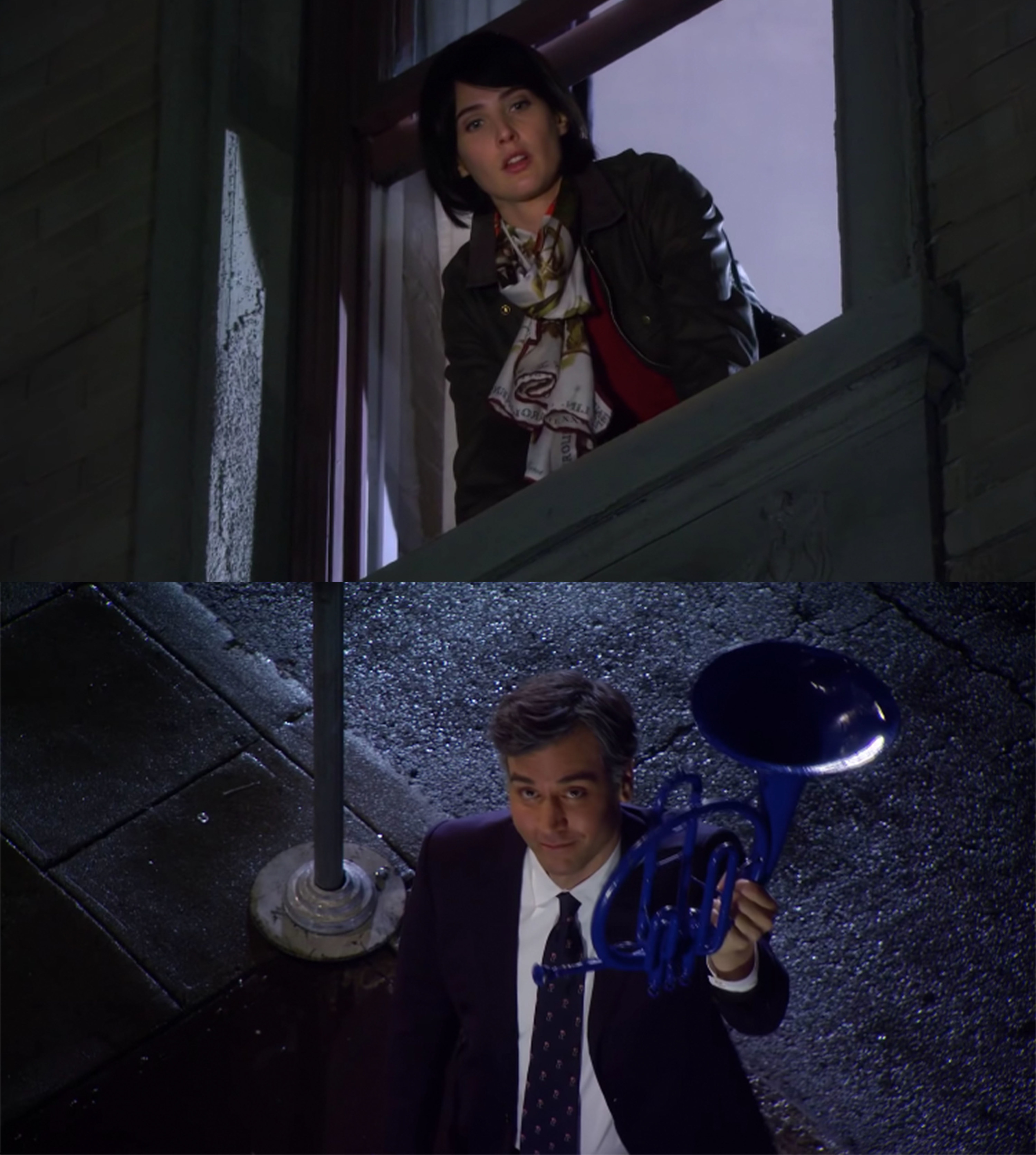 Ted shows up at Robin's window with French horn in the finale