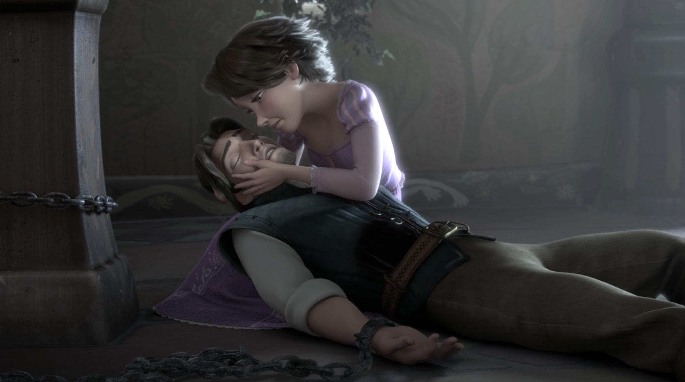 Flynn almost dies in Rapunzel's arms in Tangled