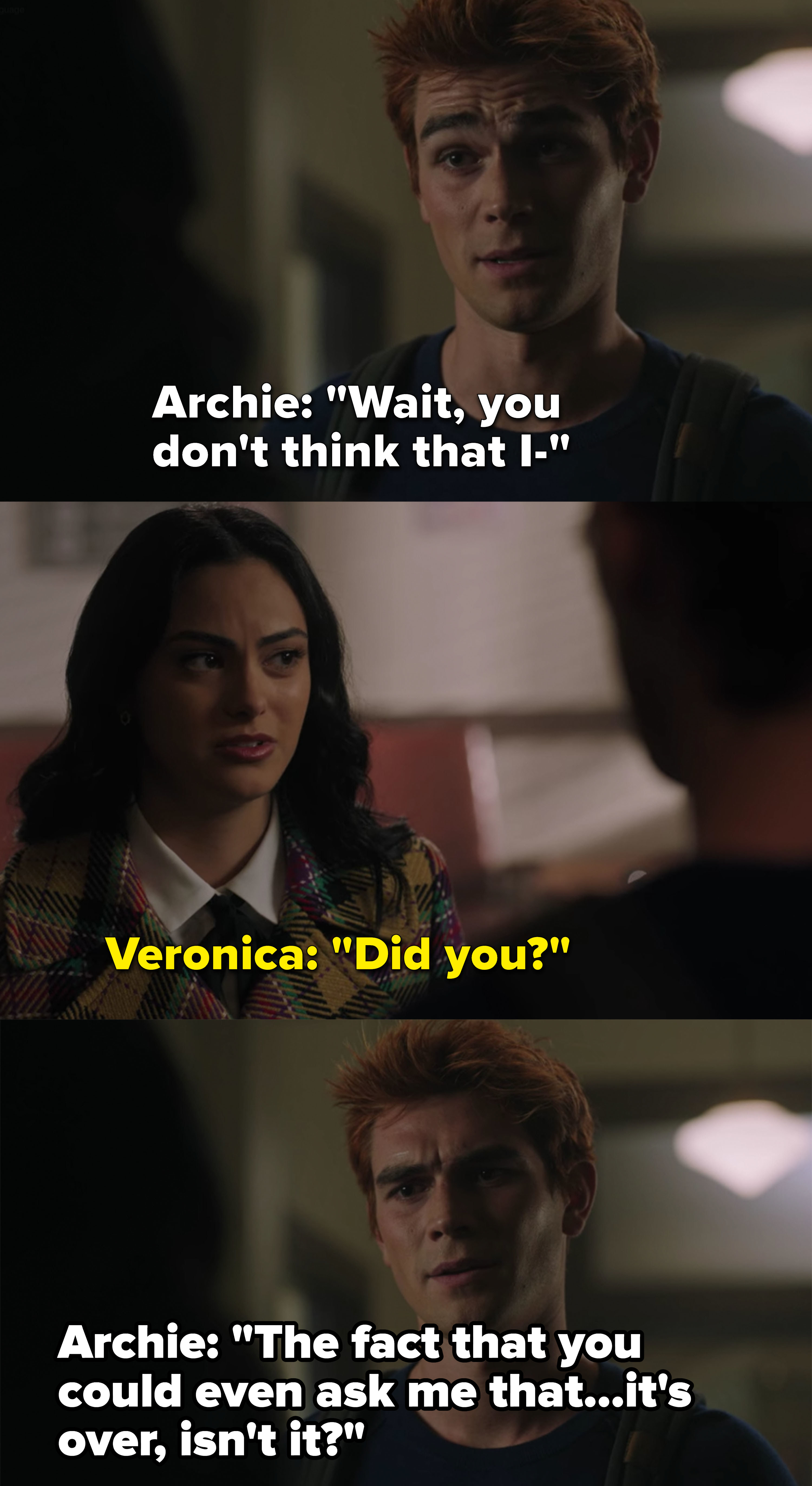 Archie and Veronica break up after she accuses him of shooting her dad