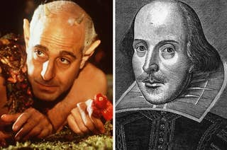 Stanley Tucci in A Midsummer Night's Dream and an archival illustration of William Shakespeare