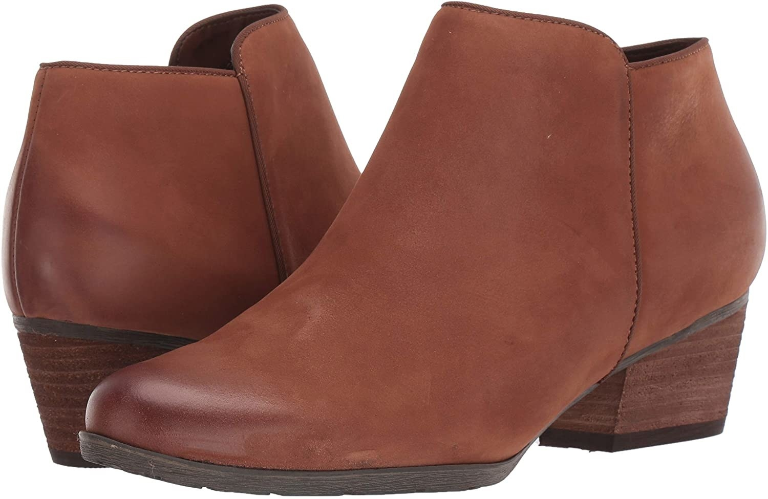Ankle boots in cognac with stacked heel