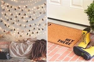 "split thumbnail of string lights on a bedroom wall, front door with welcome mat that says ""Hey there"""